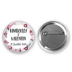 Badge mariage floral personnalisé - Thème romantique floral