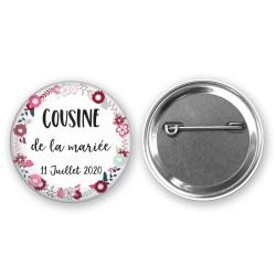 Badge mariage personnalisé pour vos invités - Thème romantique rose