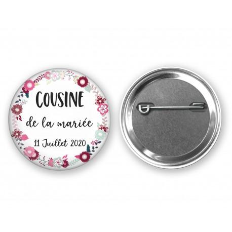 badge_personnalisé_cousine_de_la_mariée_badge_invité_personnalisé