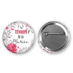 Badge 37mm personnalisé cadeau invités - Thème noel poinsettia