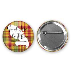 Badge 37mm Invité Thème Madras - Un cadeau personnalisé pour vos invités