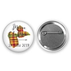 Badge 37mm Cadeau personnalisé Invité - Thème Guadeloupe et Madras