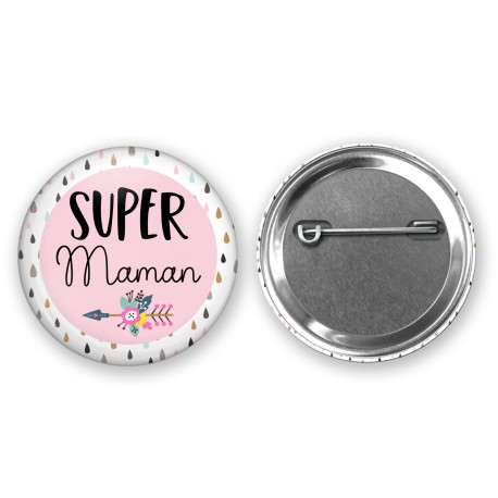 badge_super_maman_modele_boho_rose_fleche_badge_personnalisé