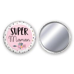 Badge Miroir Super Maman, Mamie, Maîtresse, Tata - Choisissez le vôtre