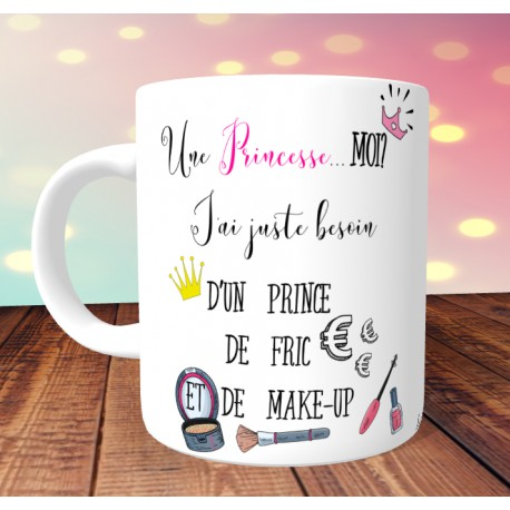 mug_princesse_make_up_humour_personnalisé_tasse_princesse_humour