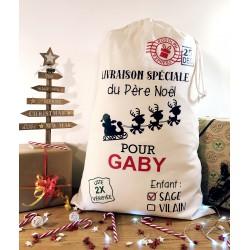 La hotte du Père Noël Personnalisée - Enfant sage / vilain - Fabrication française