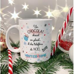 Mug chocolat chaud et télefilms de Noël personnalisé - Mug cadeau de Noël