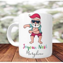 Mug Personnalisé Père noel Floss - Mug cadeau de Noël - Impression recto /verso