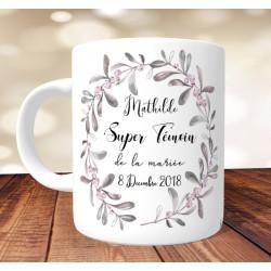 Mug Super Témoin Personnalisé prénoms et date - Modèle Baies Roses