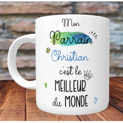 Mug Meilleur Parrain du monde - PERSONNALISABLE - Cadeau Baptême