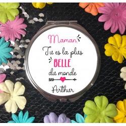 Miroir de poche personnalisé Maman tu es la plus belle - Cadeau Fêtes des mères