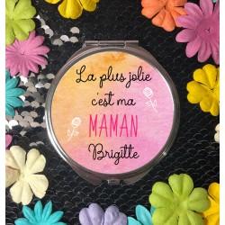 Miroir de poche personnalisé La plus belle c'est... - Cadeau personnalisé prénom