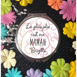 Miroir de poche personnalisé La plus Jolie c'est - Cadeau personnalisé