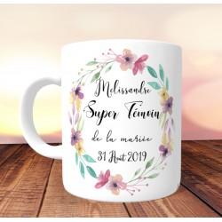 Mug personnalisé Super témoin Couronne de pensées - Personnalisé prénoms, date, prénoms des mariés