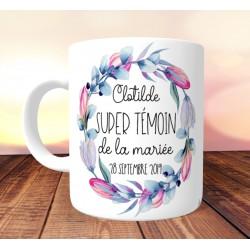 Mug personnalisé Super témoin Duo de fleurs - Personnalisé prénoms, date, prénoms des mariés